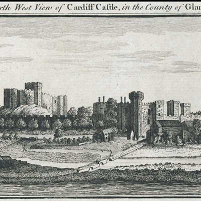 An old postcard of Cardiff Castle in the 1700's