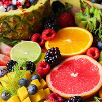 An assorted mix of fruit.