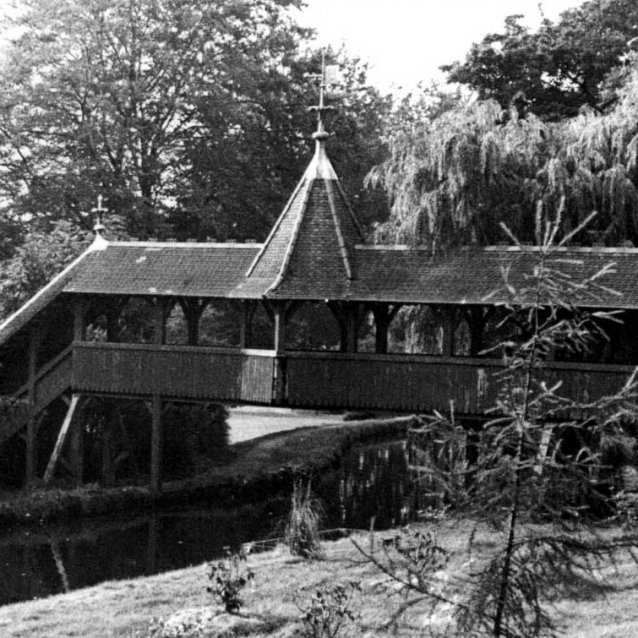 Black and white photo of the now dismantled swiss bridge